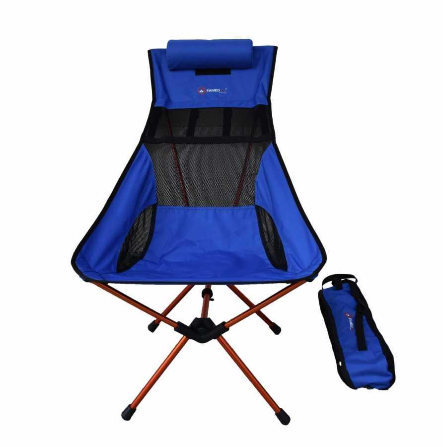 Famedall Carry Kamp Sandalyesi Bisikletçiler İçin Mavi