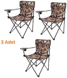 ROMEE - Katlanır Kamp Sandalyesi Kolçaklı Saz Desenli Dayanıklı 3lü Paket
