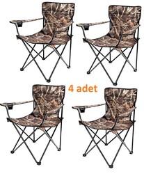 ROMEE - Katlanır Kamp Sandalyesi Kolçaklı Saz Desenli Dayanıklı 4lü Paket