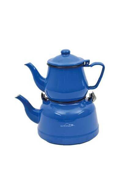 Campout Emaye Çaydanlık Seti Mavi