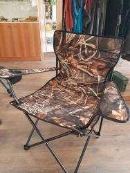 Katlanır Kamp Sandalyesi Kolçaklı Saz Desenli Süper Dayanıklı - Thumbnail