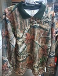 YERLİ ÜRETİM - Polo Yaka Kalın Uzun Kol T-Shirt Orman