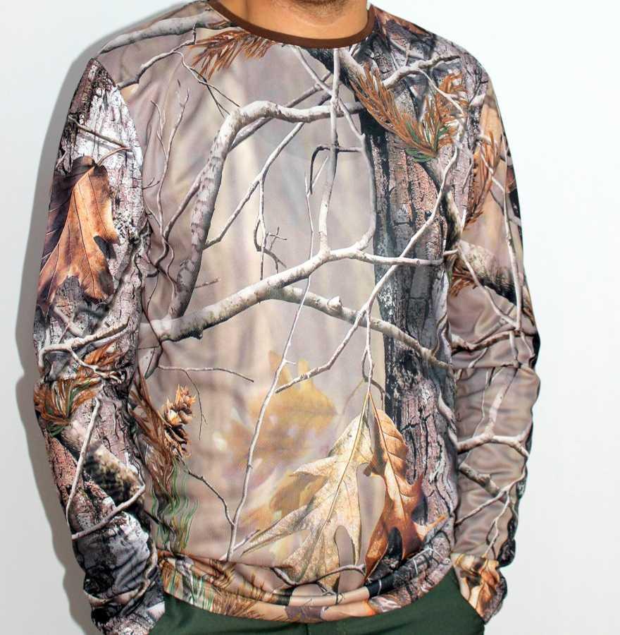 Basic T-Shirt Orman Desenli Mevsimlik Uzun Kollu